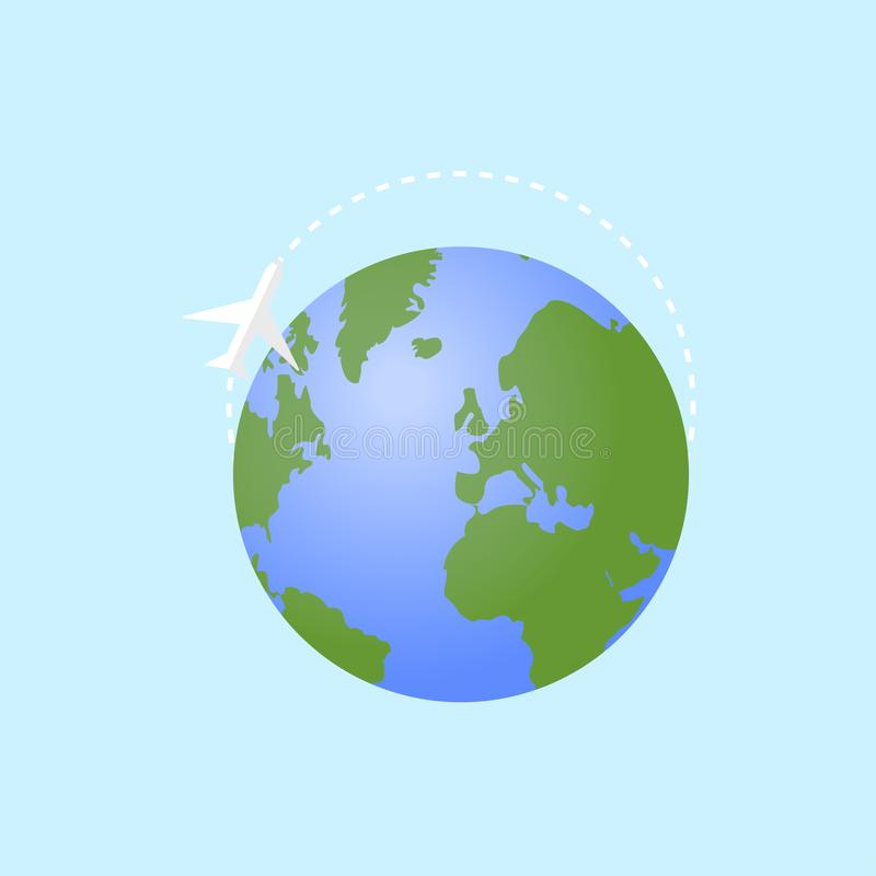 Vector illustration Earth with plane globe with blue backround flat design stock illustration