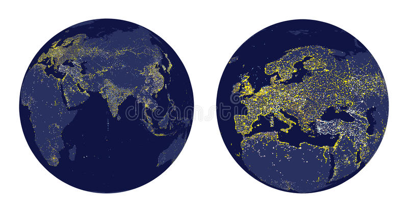 Vector illustration of Earth sphere with city lights and zoom of Europe vector illustration
