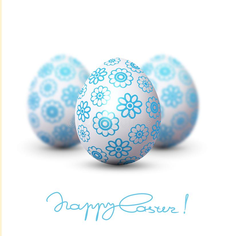 Vector illustration. Easter egg with a blue pattern on the background of two blurred eggs. Design element, template wallpaper, fl stock illustration