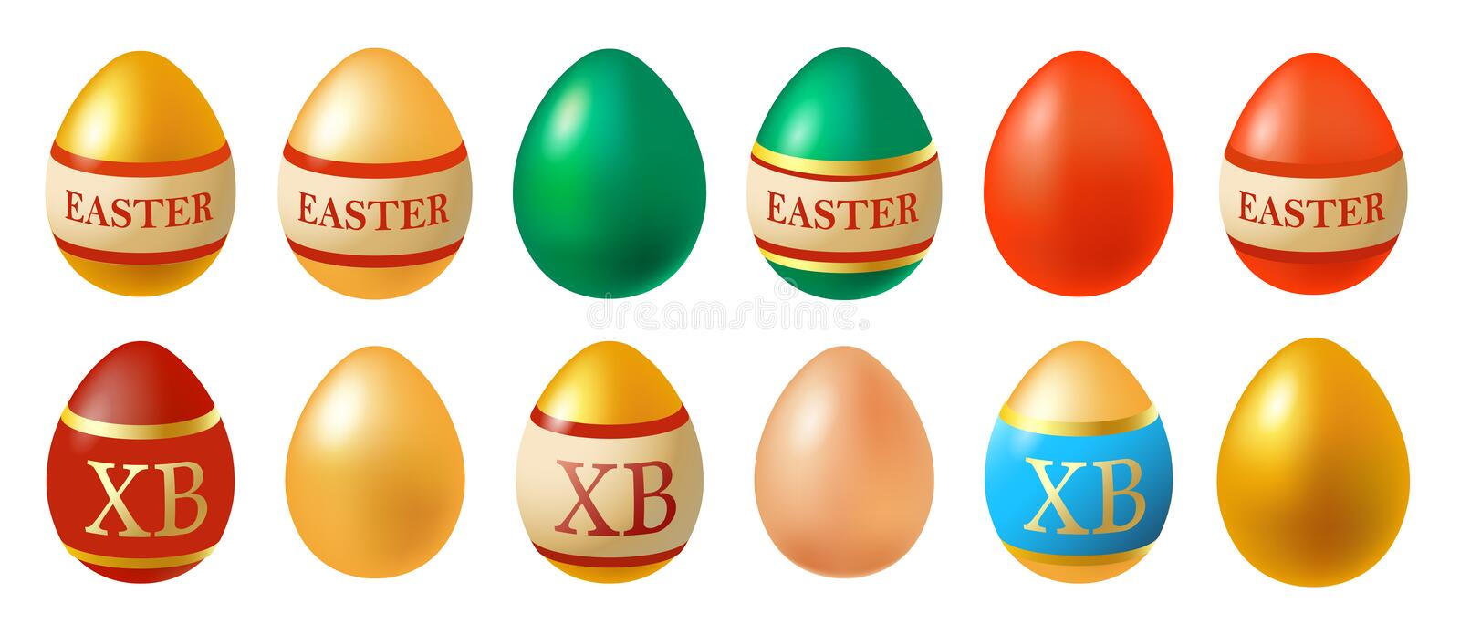 Vector illustration of Easter eggs collection on a white background. EPS 10. Vector illustration of Easter eggs collection on a white background vector illustration