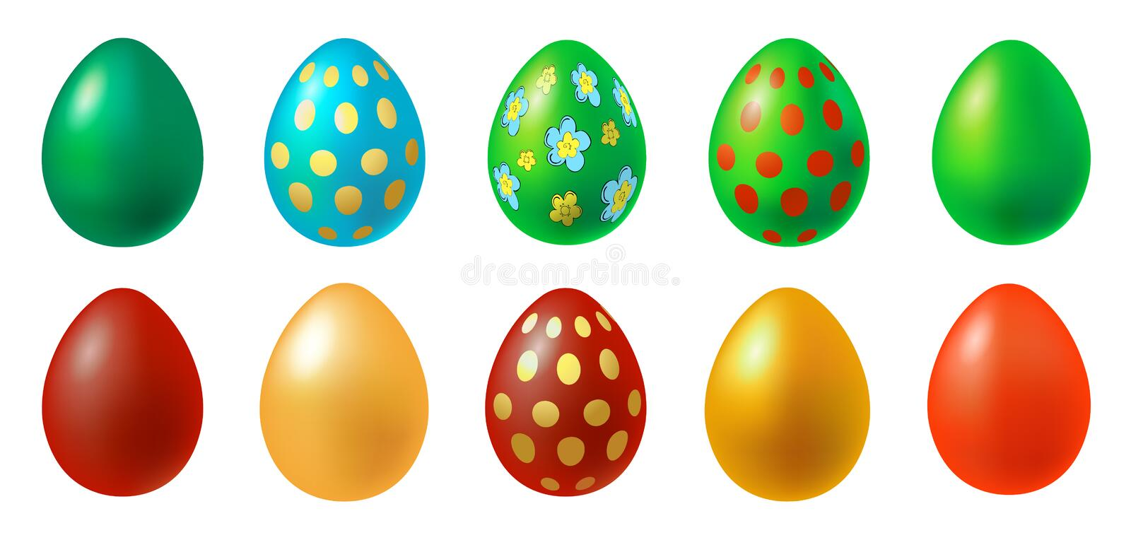 Vector illustration of Easter eggs collection on a white background. EPS 10. Vector illustration of Easter eggs collection on a white background royalty free illustration