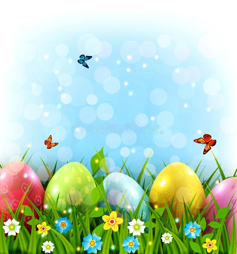 Vector illustration. Easter greeting card with colorful eggs lying on the green grass against the blue sky. Design element, greet stock illustration