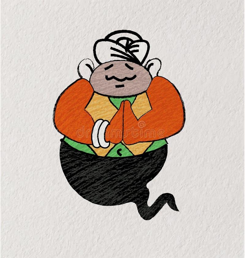 Cartoon Giant Arab Genie royalty free illustration