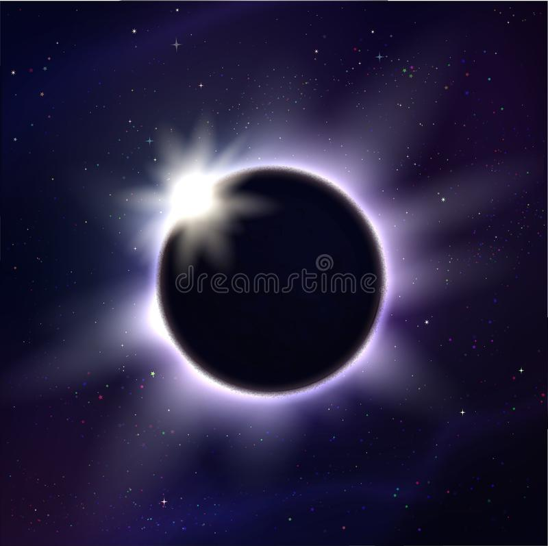 Vector illustration of eclipse and light rays stock illustration