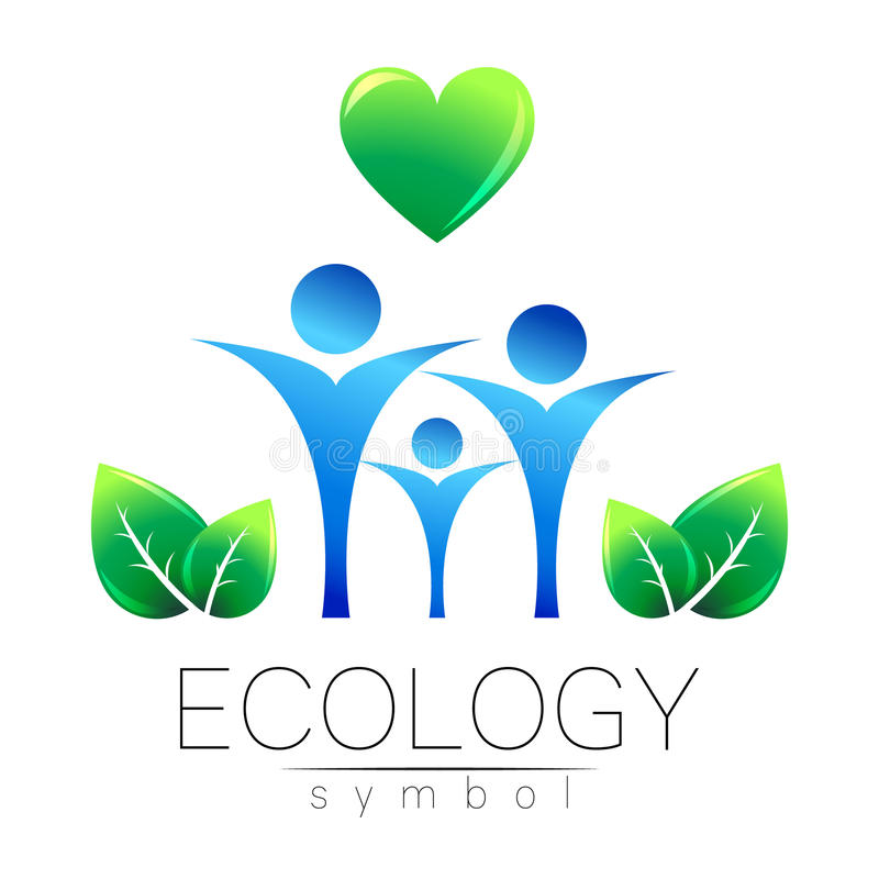 Vector illustration of Ecology symbol. Sign with human family heart and leaf isolated on white background. Green and stock illustration