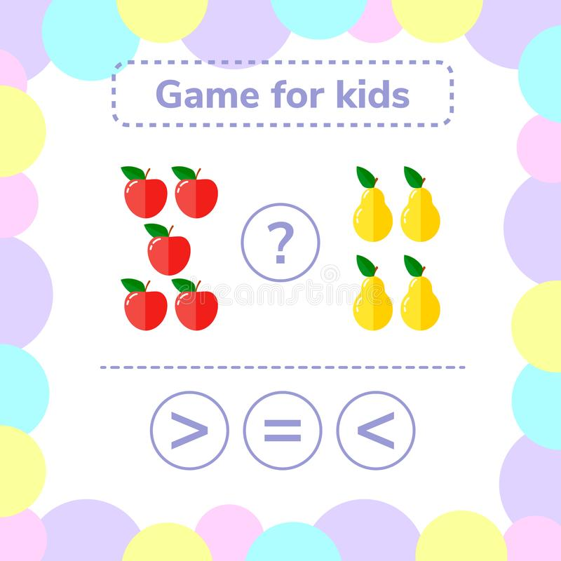 Vector illustration. Education logic game for preschool kids. vector illustration
