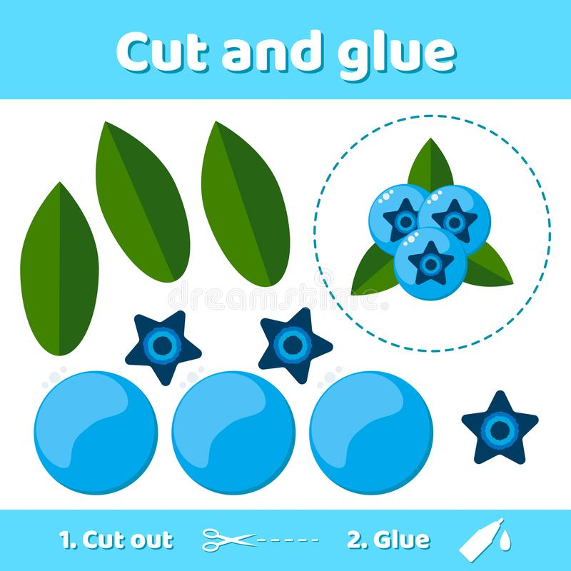 Vector illustration. Education paper game for preschool kids. Use scissors and glue to create the image. forest berry royalty free illustration