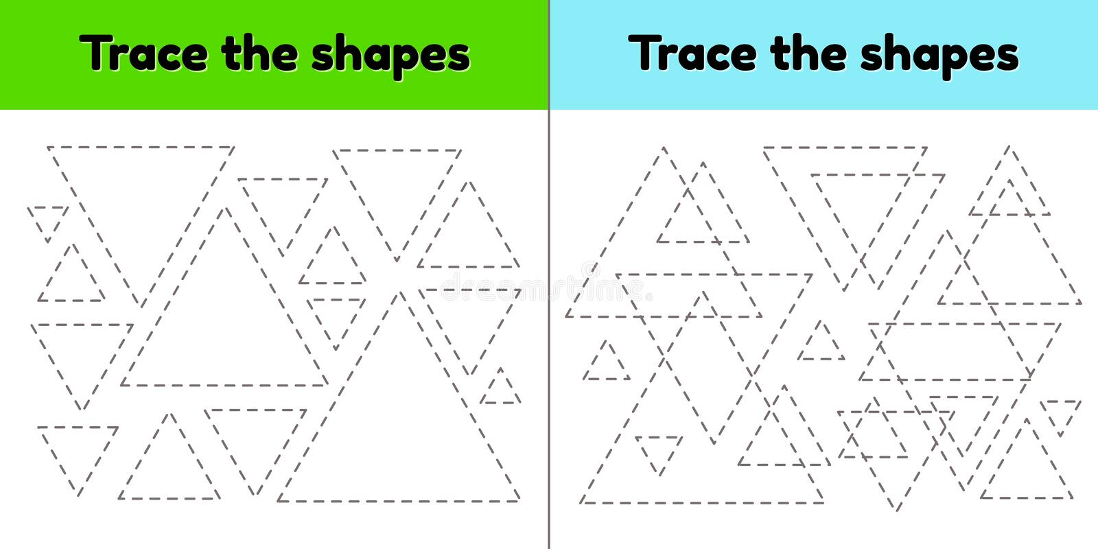 Educational tracing worksheet for kids preschool and school age. Trace the geometric shape.  Dashed lines. Triangle. vector illustration