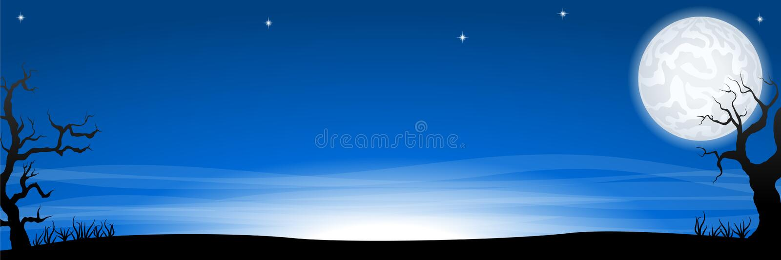 Eerie halloween night background banner with a full moon. Vector illustration of an eerie halloween night background banner with a full moon royalty free illustration