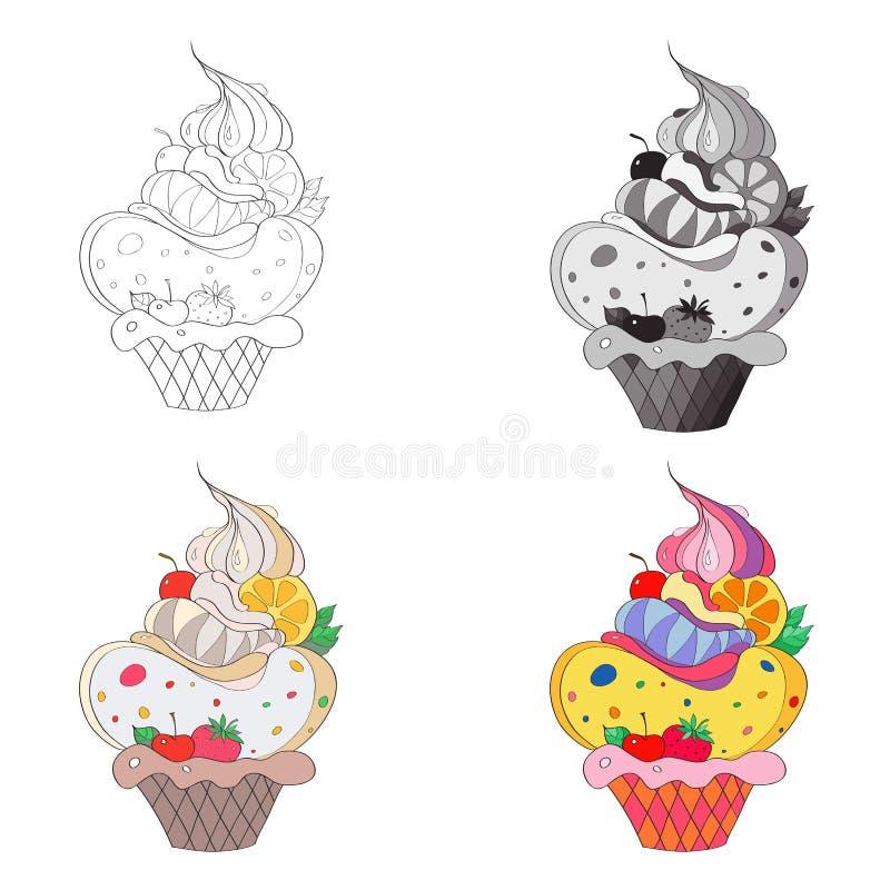 Vector Illustration, ein Bild eines fantastischen Kuchens Schwarzweiss-Linie, Schattenbild, Schwarzweiss, Grau und Farbe vektor abbildung