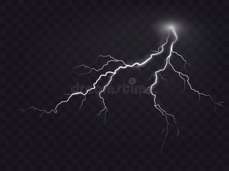 Vector Illustration einer realistischen Art des hellen glühenden Blitzes, der auf einem dunklen, natürlichen Lichteffekt lokalisi lizenzfreie abbildung
