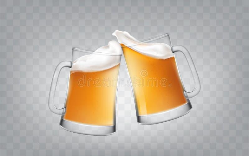 Vector Illustration einer realistischen Art zwei Glas, das Becher mit Bier, Beifallbiergläser röstet lizenzfreie stockbilder
