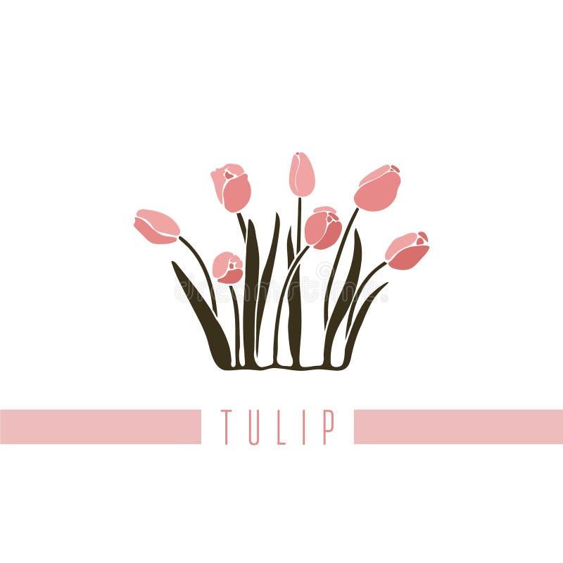 Vector Illustration einer Reihe Bilder mit verschiedenen Blumen Die Tulpe wird in einer flachen Art dargestellt vektor abbildung
