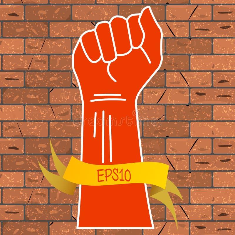 Vector Illustration einer roten Hand, die in eine Faust und in ein gelbes Band mit einer Aufschrift EPS10 auf einer braunen Backs vektor abbildung