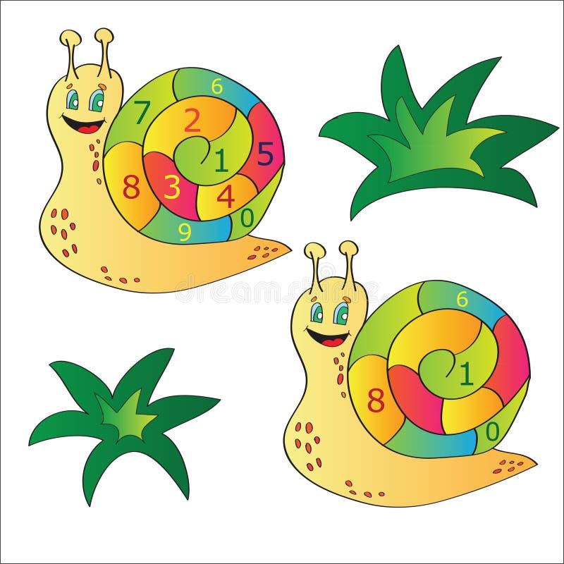 Vector Illustration einer Schnecke - ein Puzzlespiel für Kind stock abbildung