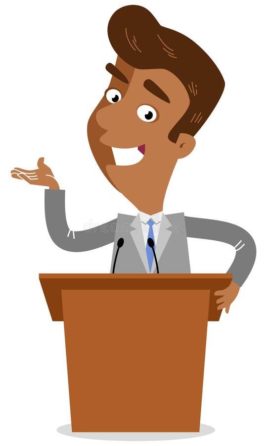Vector Illustration eines asiatischen Karikaturgeschäftsmannes, der hinter Stehpult auf dem Podium steht, das Rede gibt stock abbildung