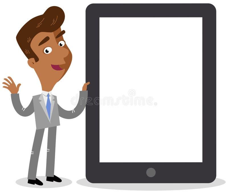 Vector Illustration eines freundlichen asiatischen Karikaturgeschäftsmannes, der nahe bei riesigem Tablet-Computer steht stock abbildung