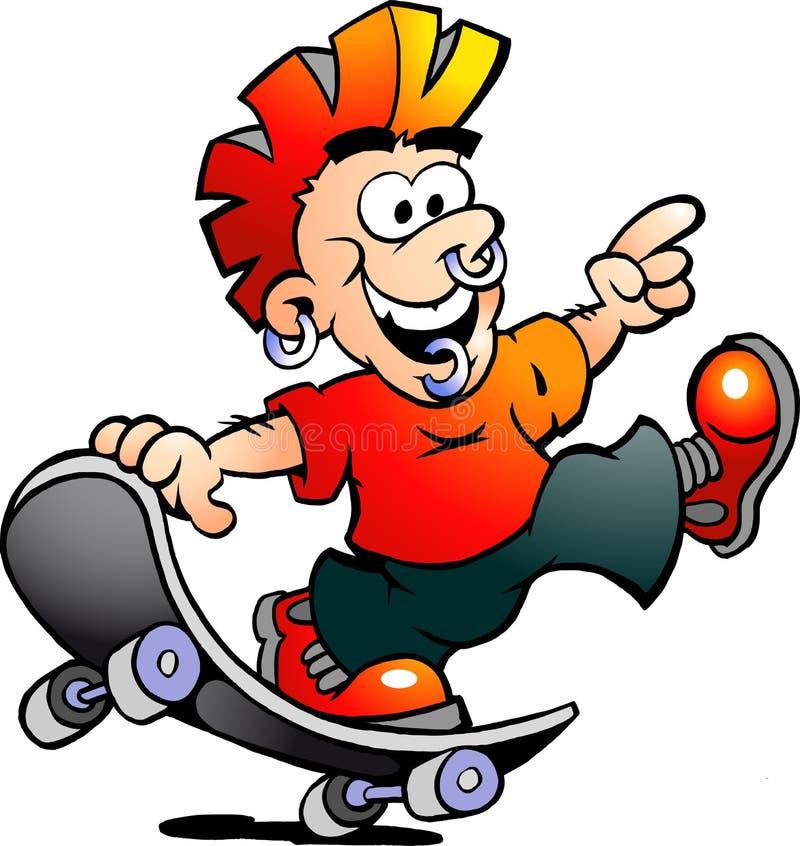 Vector Illustration eines glücklichen kühlen Schlittschuhläufer-Jungen lizenzfreie abbildung