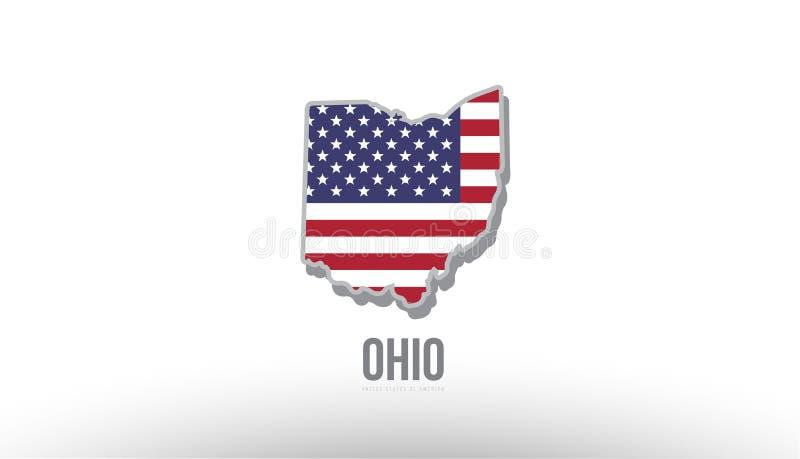 Vector Illustration eines Grafschaftszustandes mit Flagge US Vereinigte Staaten lizenzfreie abbildung