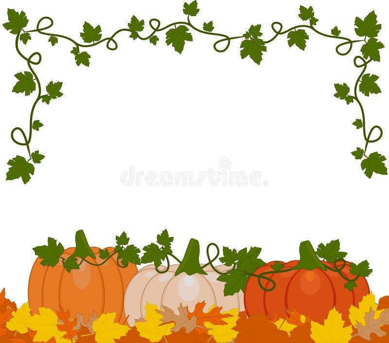 Vector Illustration eines Hintergrundes der orange und weißen Kürbise lizenzfreie abbildung