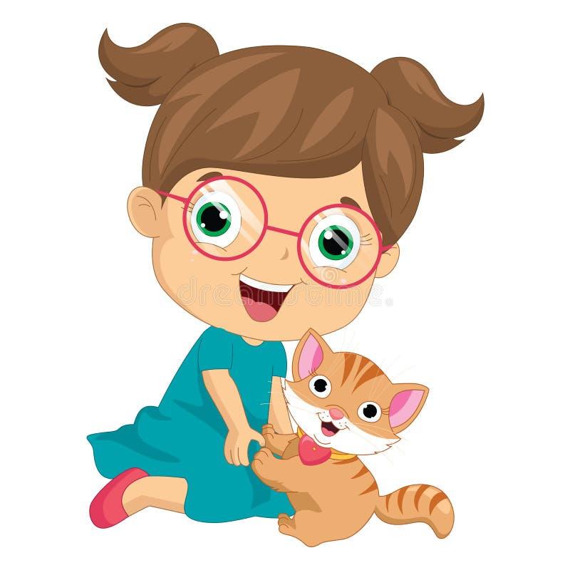 Vector Illustration eines Mädchens, das mit Katze spielt vektor abbildung
