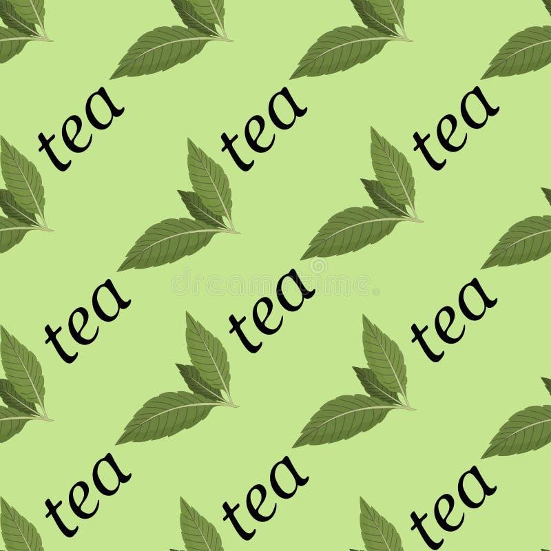 Vector Illustration eines nahtlosen Musters der Teeblätter und der Wörter des Tees auf einem hellen Hintergrund vektor abbildung