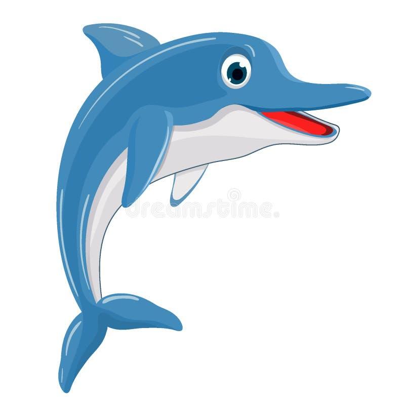 Vector Illustration eines netten glücklichen Delphins für Gestaltungselement stockfoto