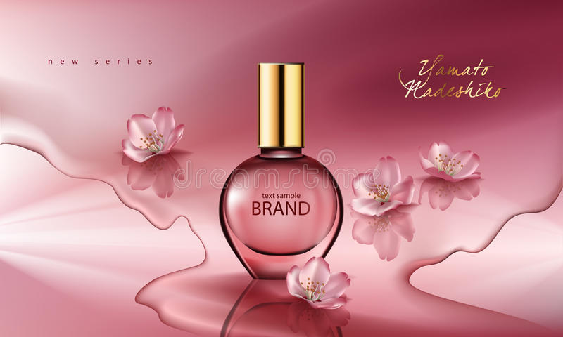 Vector Illustration eines realistischen Artparfüms in einer Glasflasche auf einem rosa Hintergrund mit Kirschblüte-Blumen lizenzfreie abbildung