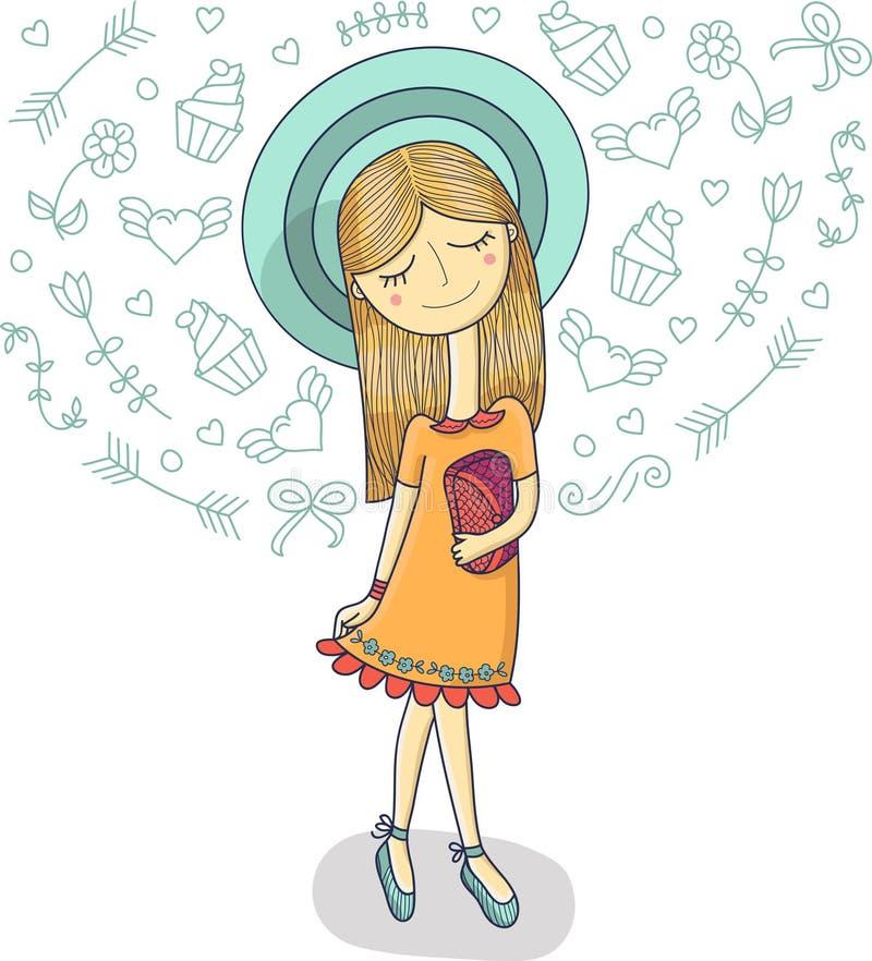 Vector Illustration eines schönen Modemädchens im netten Kleid, gestreifter Hut mit Tasche Bezaubernde Dame auf weißem Hintergrun vektor abbildung