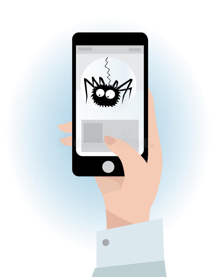 Vector Illustration eines schwarzen Telefons und des Telefonvirus lizenzfreie abbildung