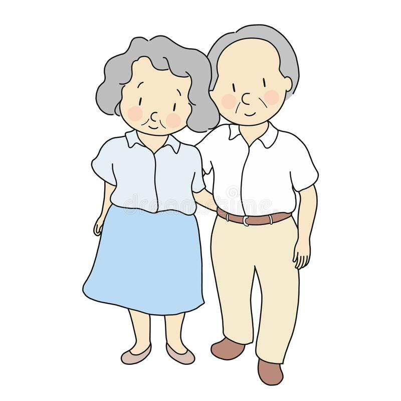 Vector illustration of elderly couple standing & smiling together. Elderly people, 70s, healthcare, family, togetherness, happy stock illustration