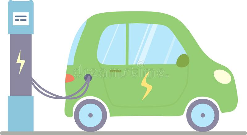 A green isolated electric car. vector illustration