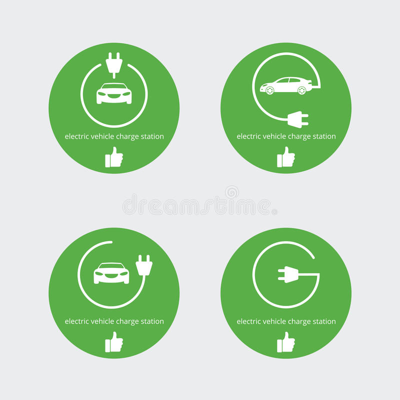 Vector illustration electric vehicle charger station. Smart point place for charging station for electric car. stock illustration
