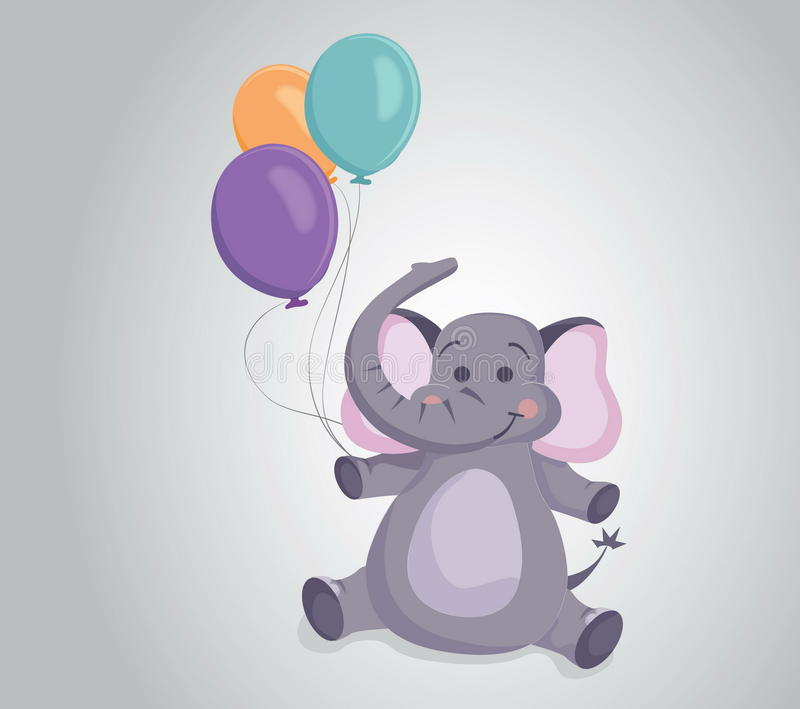 Vector illustration elephant with balloons royalty free stock image