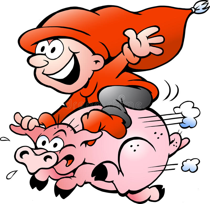 Download Vector Illustration Of Elf Riding On A Pig Stock Vector - Image: 26280614