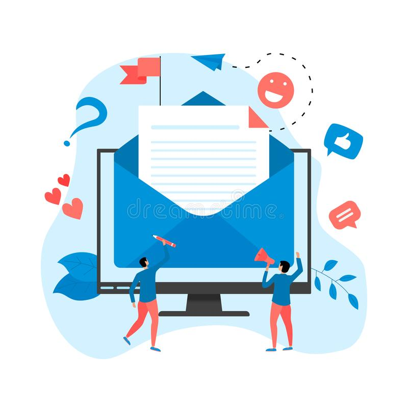 Vector illustration of email marketing & message concept with big letter on desktop with small digital agency managers. Vector illustration of email marketin & royalty free illustration