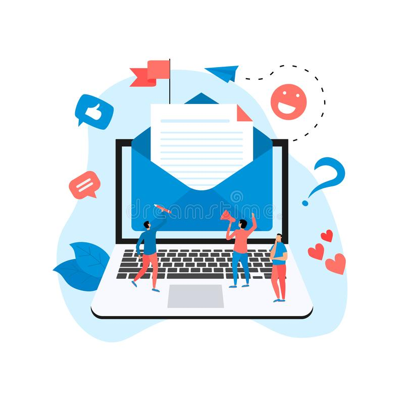 Vector illustration of email marketing & message concept with big letter on laptop with small digital agency managers.  stock illustration