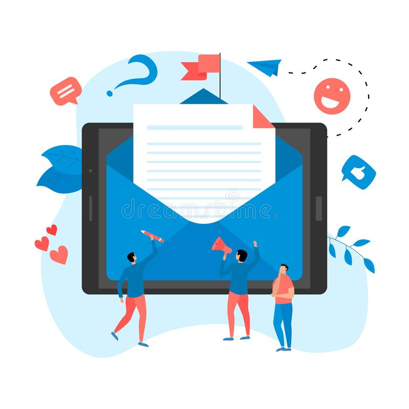 Vector illustration of email marketing & message concept with big letter on tablet with small digital agency managers.  stock illustration