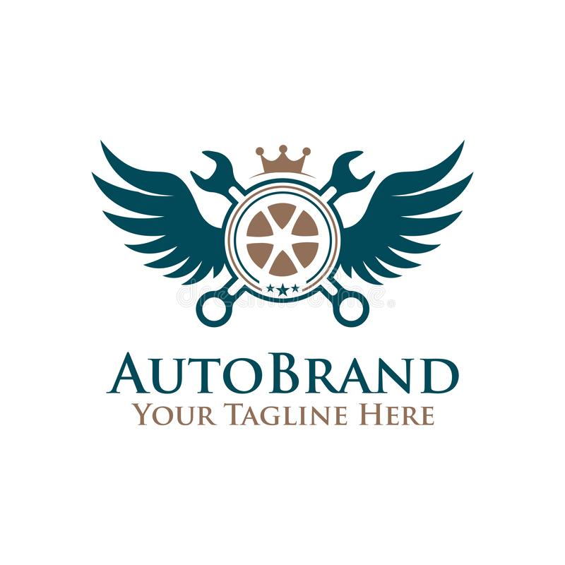 Vector illustration emblem tire wheel , wrench with wings logo. auto service logo royalty free illustration