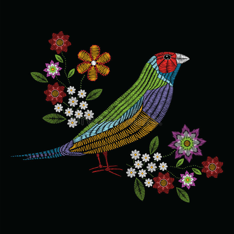 Vector illustration embroidery stitches with gouldian finch, chamomile wildflowers, spring flowers, branches in color. Fashion or stock illustration