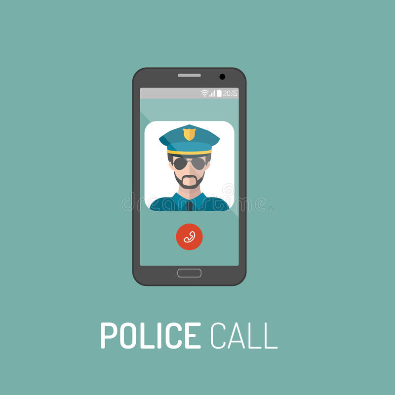 Vector illustration of emergency police call with policeman icon on mobile telephone in trendy flat style. stock illustration
