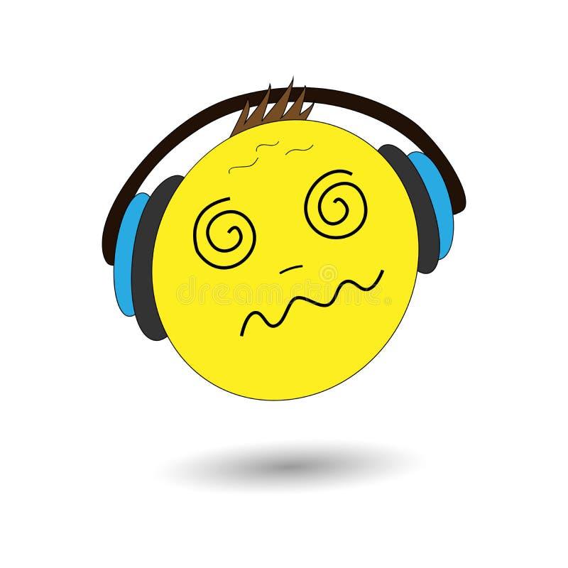 Vector illustration emoji. Banner with emoji. Crazy emotion, dizzy emotion. Cartoon print. royalty free illustration
