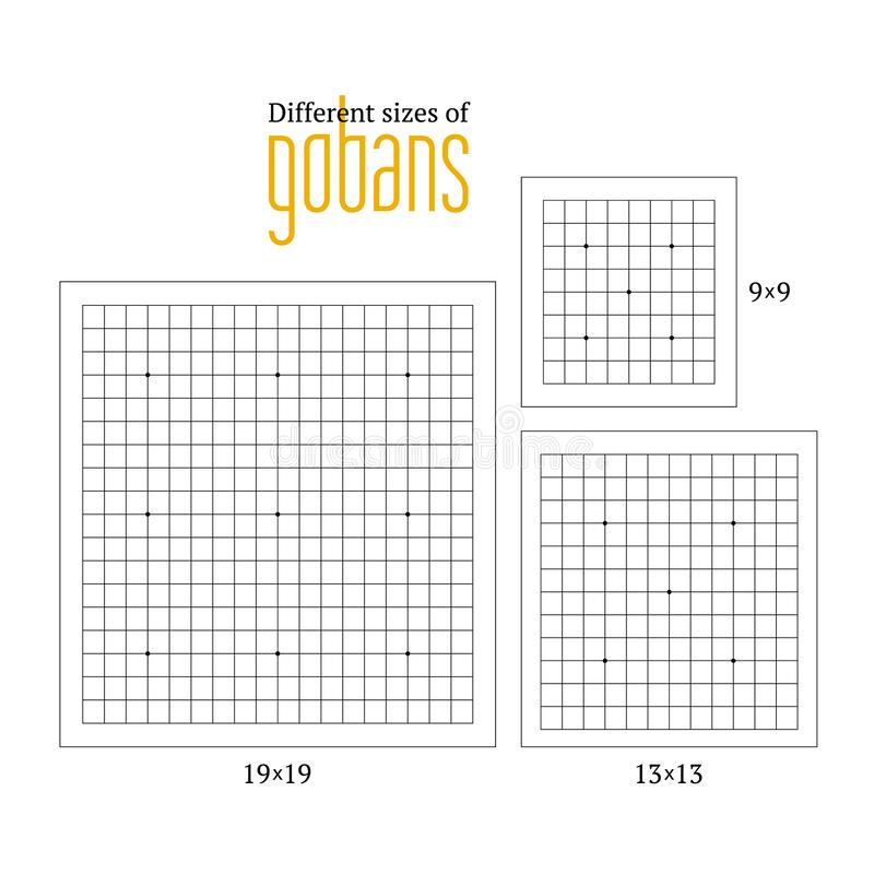 Vector illustration of empty gobans of different sizes royalty free stock images