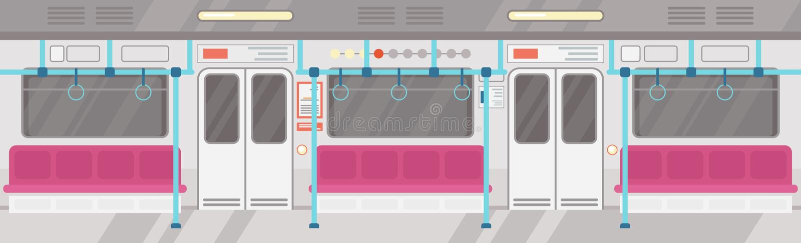 Vector illustration of empty of modern subway interior. City public transport concept, underground tram interior with royalty free illustration