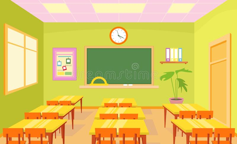 Vector illustration of empty school class room interior in bright pastel colors with board and desks for children in stock illustration