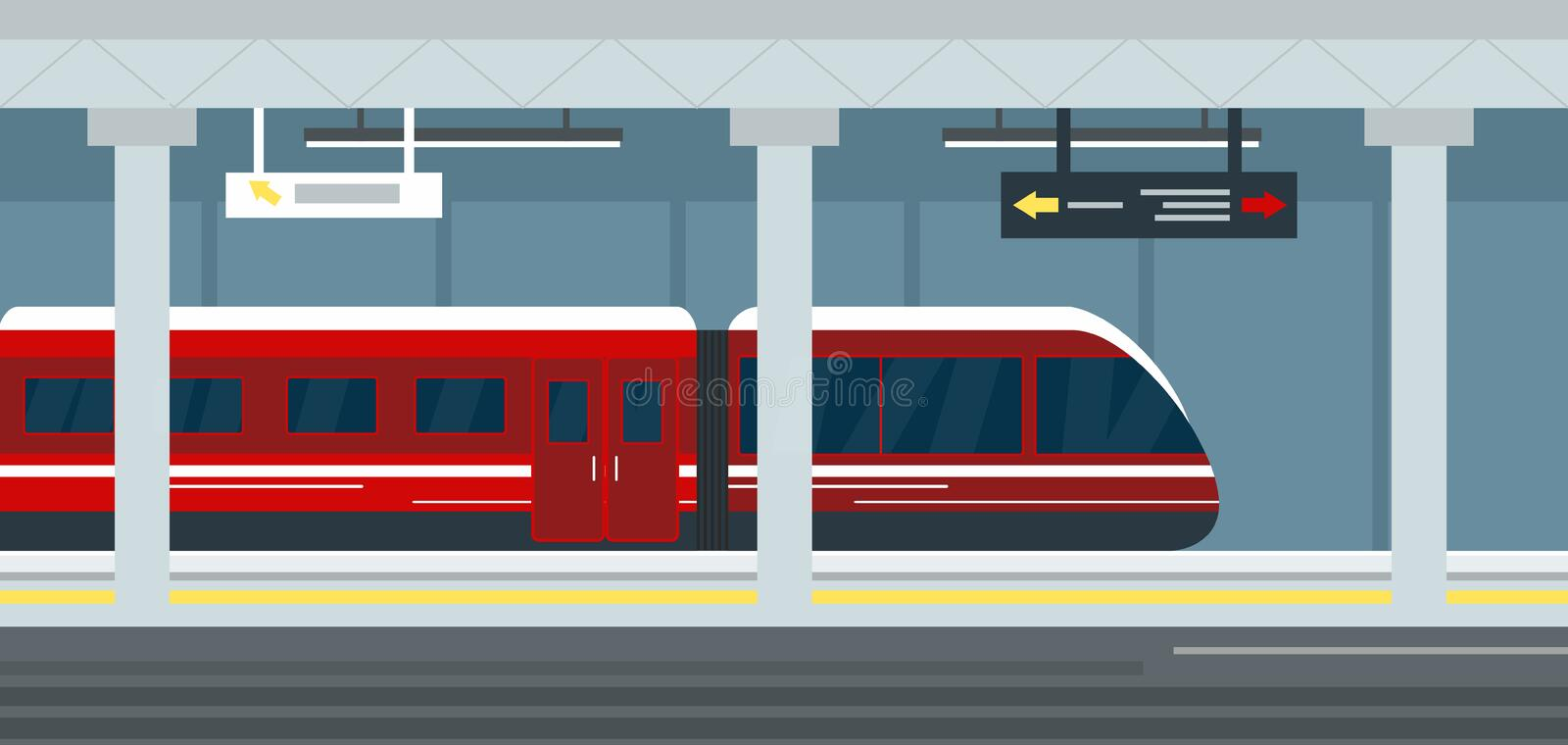 Vector illustration of empty subway station interior, subway railway station underground, metro platform and train. Modern urban metro concept stock illustration