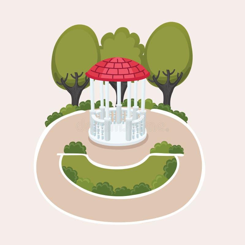 Vector illustration with empty wedding gazebo royalty free illustration