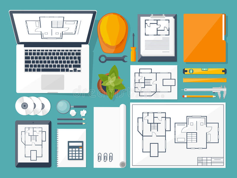 Vector illustration. Engineering and architecture. Drawing, construction. Architectural project. Design, sketching vector illustration