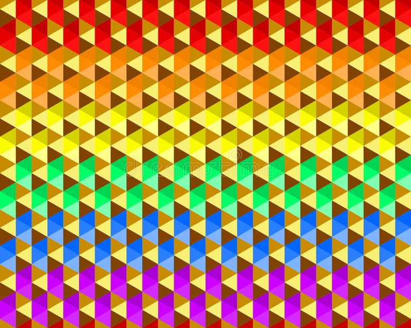 Colorful waving rainbow texture background of small triangle shapes, LGBTQ pride flag colors, seamless pattern. Flat design vector vector illustration