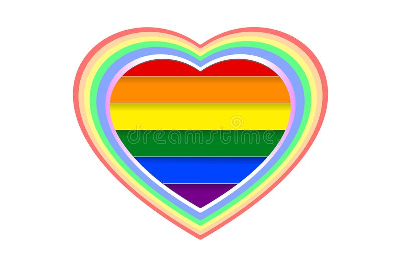 Colorful and multi-layered heart shape over rainbow LGBT colored stripes, isolated on white transparent background, paper cut stock illustration